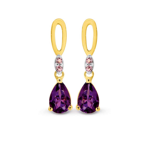 9K Yellow Gold Amethyst & Pink Tourmaline Drop Earrings