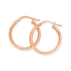 9RS 9K Rose gold & Silver Bonded Round Hoop Earrings
