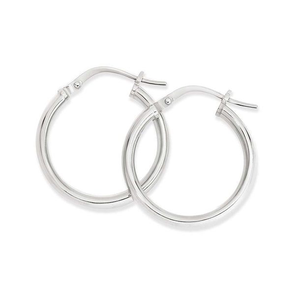 9WS 9K White Gold & Silver Bonded Round Hoop Earrings