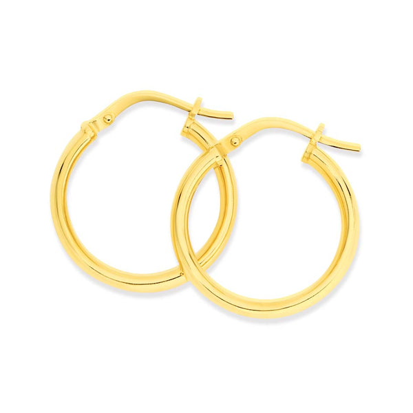 9WS 9K Yellow Gold & Silver Bonded Round Hoop Earrings