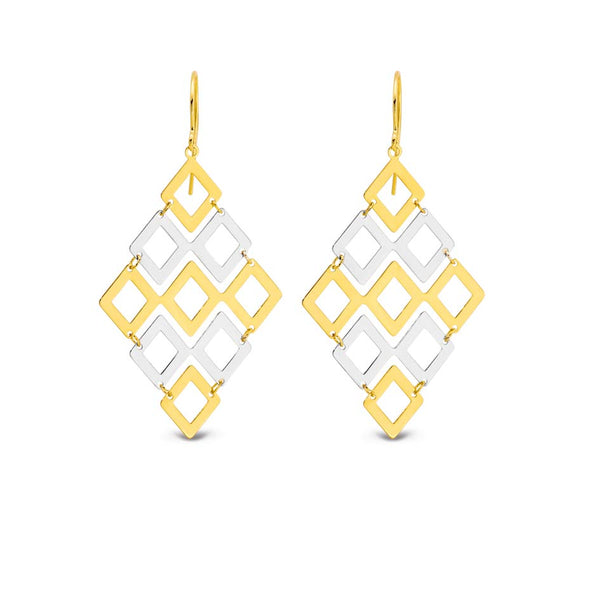9YS 9K Yellow Gold & Silver Bonded Square / Diamond Drop Earrings