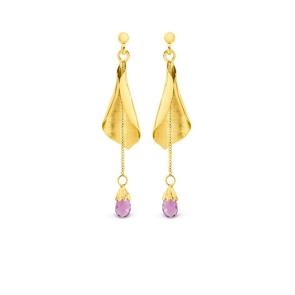 9K Yellow Gold Amethyst Drop Earrings