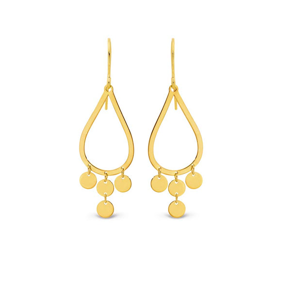9YS 9k Yellow Gold & Silver Bounded Drop Earrings