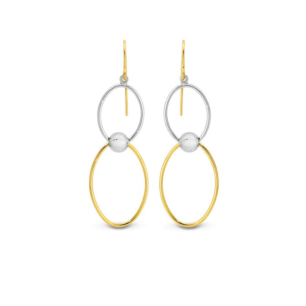 9YS 9K Yellow Gold & Silver Bonded Double Circle Drop Earrings