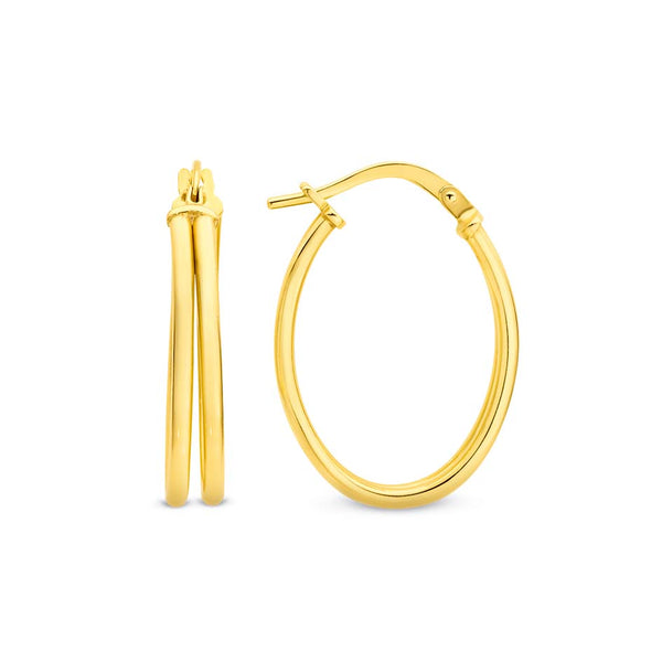 9YS 9K Yellow Gold & Silver Bonded Oval Hoop Earrings