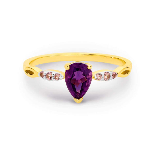 9K Yelllow Gold Amethyst & Pink Tourmaline Dress Ring