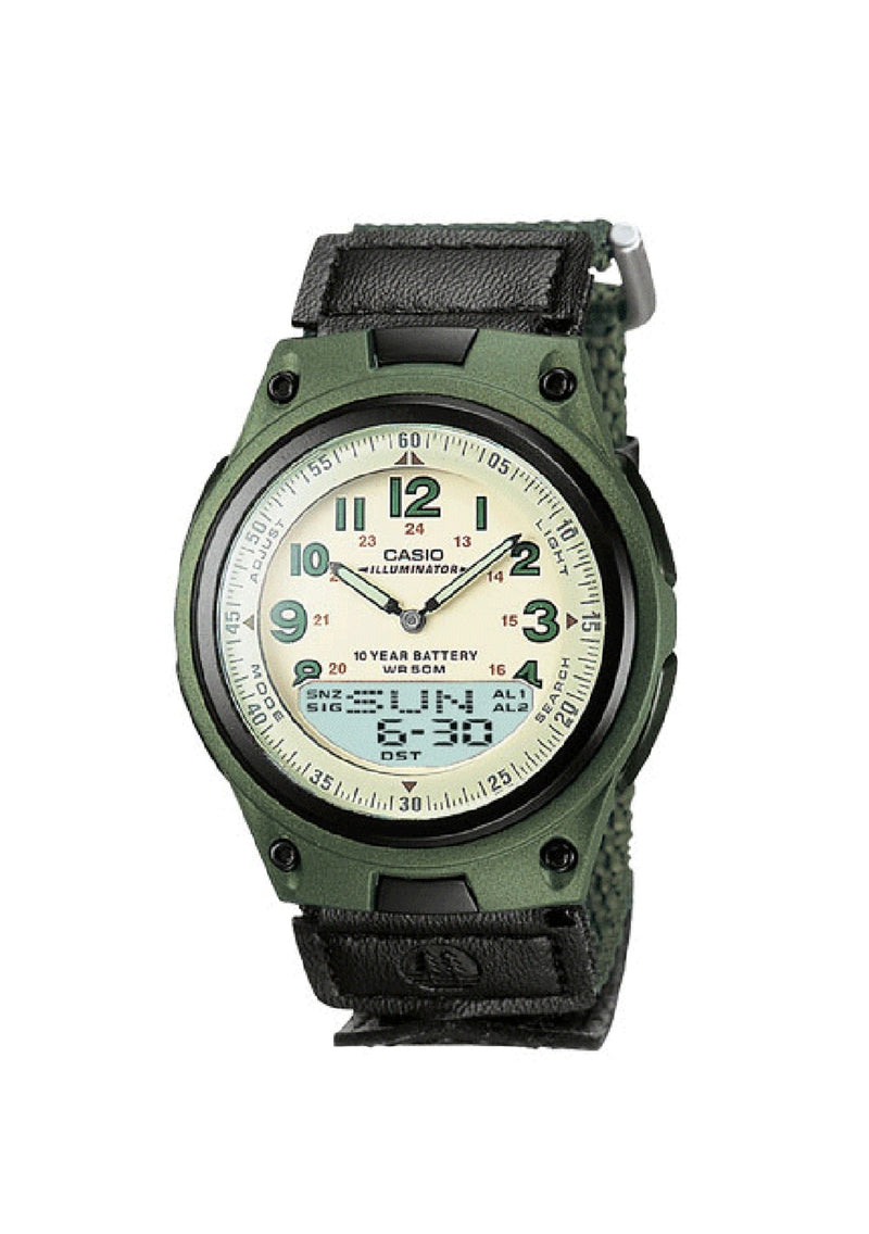 CASIO MENS / LADIES BASIC CLOTH STRAP 50M WR, WORLD TIME, LED LIGHT GREEN