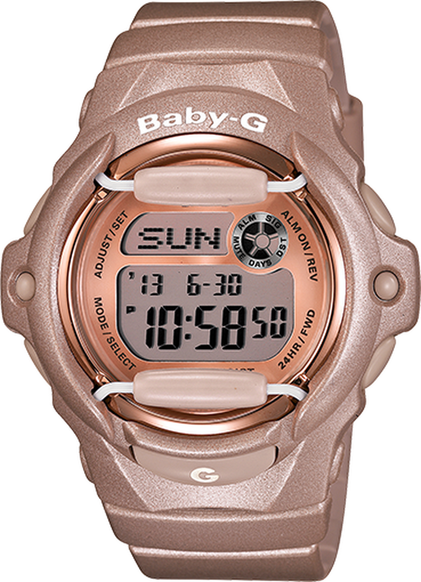 CASIO BABY G DIGI PASTELSERIES 100M WR, DAY/DATE, STOPWATCH PINK