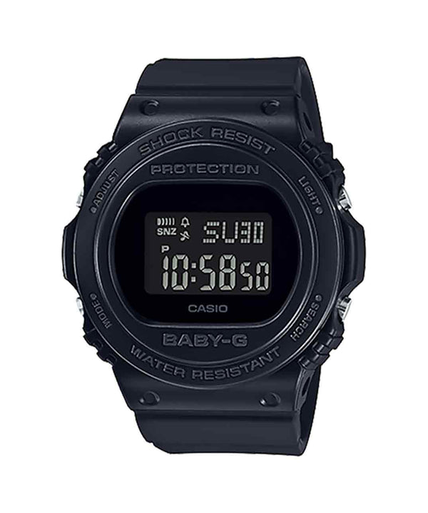 Casio Baby G Digital Round Basic S/wtch, Alarm, 100m Wr Blk Face & Resin Band