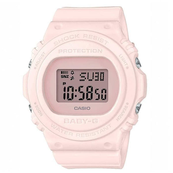CASIO BABY G DIGITAL ROUND BASIC S/WTCH, ALARM, 100M WR PINK FACE WHITE RESIN