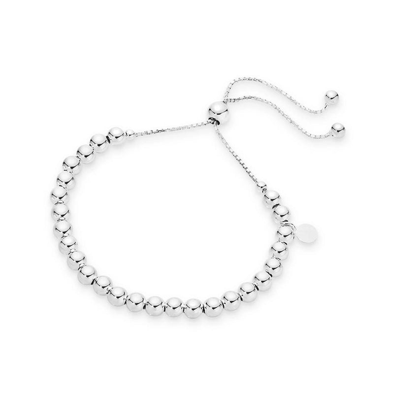 Stg Silver Adjustable 5mm Ball Bracelet