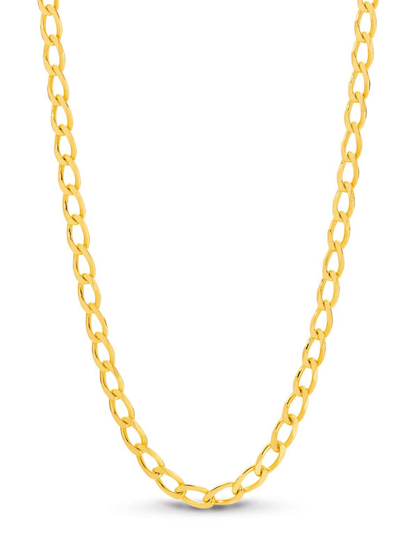 9K Yellow Gold Open Curb Chain 45cm