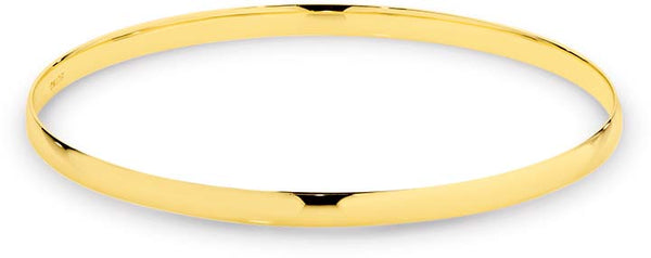 9K Yellow Gold Comfort Half Round Bangle 4mm 65mm Approx 8gram