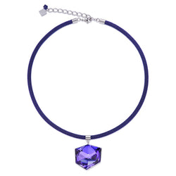 Coeur De Lion NECKLACE ST/ST PURPLE ENAMEL WITH PURPLE COLOURED SWAROVSKI CRYSTALS