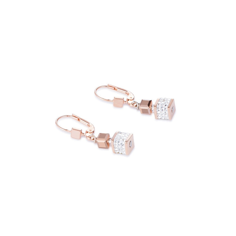 Coeur De Lion EARRINGS ROSE GOLD PLATED ST/ST W/GLASS, PAVE SET CRYSTALS & SWAROVSKI CRYSTALS & ST/ST FITTINGS