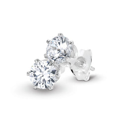 Stg Silver 4mm White CZ Claw Set Stud Earrings