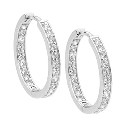ELLANI STG SILVER WHITE CZ INSIDE OUT 23MM RND HOOPS