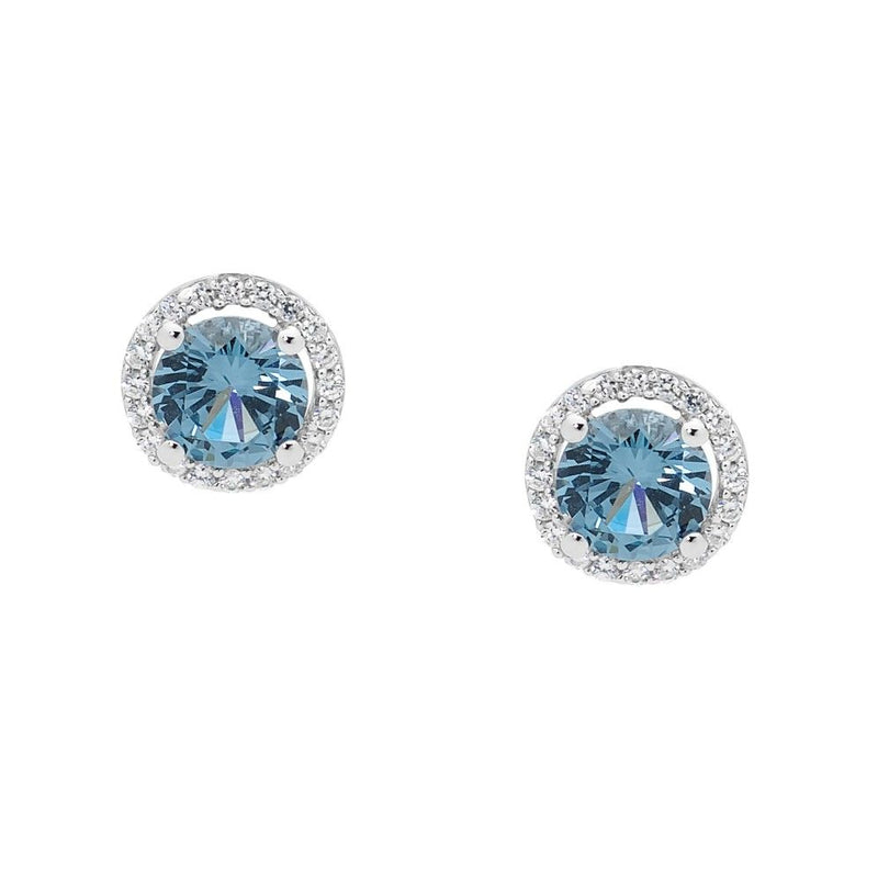 SS BLUE CZ SOLITAIRE W/WH CZ SURROUND EARRINGS