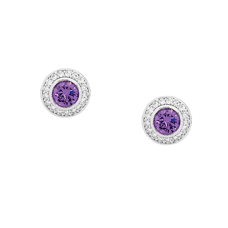 SS ROUND AMETHYST CZ SOL. W/WH CZ CLAW SURROUND EARRINGS