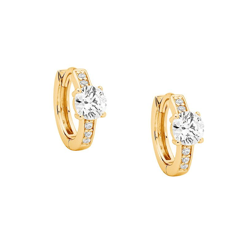 ELLANI STG SILVER WHITE CZ 13MM HOOPS W/5MM WH CZ SOLITAIRE & GOLD PLATING