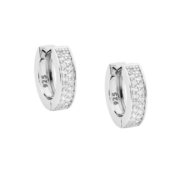 ELLANI STG SILVER WHITE CZ 15MM DOUBLE ROW PAVE HOOP EARRINGS