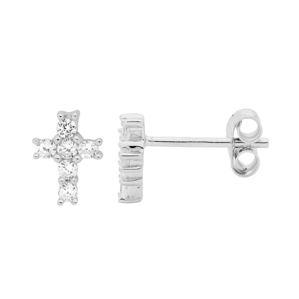 ELLANI STG SILVER WHITE CZ Claw Set Small Cross Stud Earrings