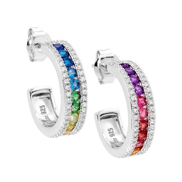 ELLANI STG SILVER MULTI COLOUR CZ CHANNEL SET 18MM HOOP EARRINGS W/WH CZ SURROUND