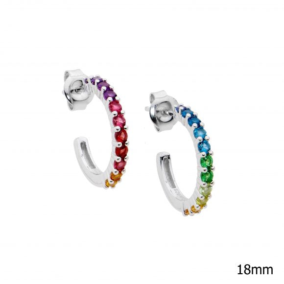 STG SILVER MULTI COLOUR CZ CLAW SET 18mm hoop earrings