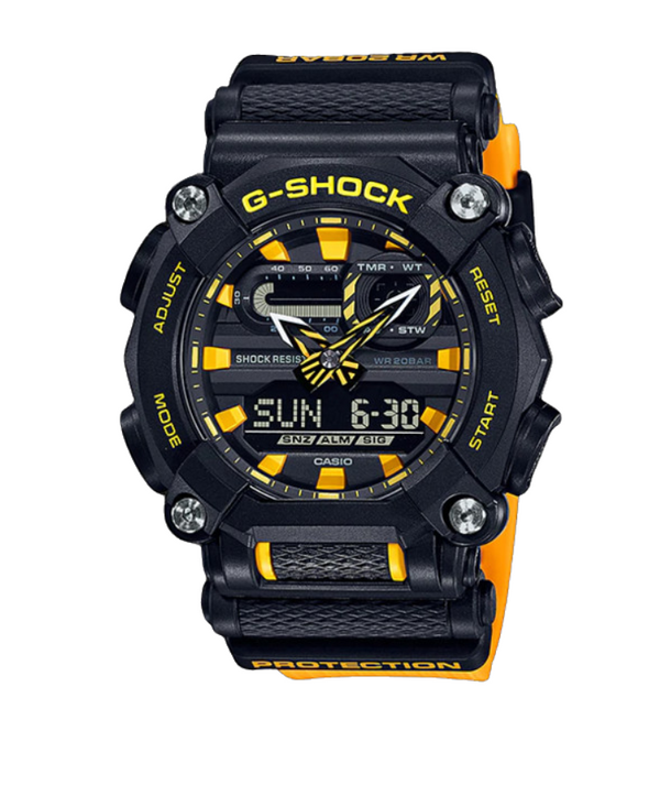 CASIO G-SHOCK DUO NEW AGE DESIGN 7 YR BATT WITH TIME ALARM 200M WR BLACK FACE YELLOW RESIN BAND