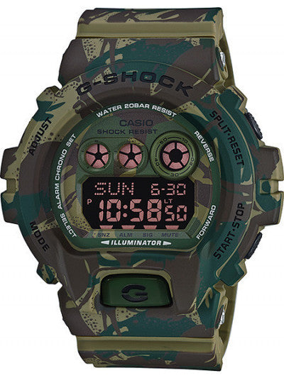 CASIO G-SHOCK STREET CAMO WOODLANDS 10 YR BATTERY, RESIN, LED