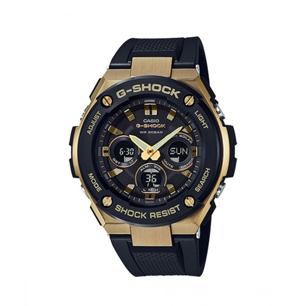 CASIO G-SHOCK G STEEL MID MID SIZE, METAL BEZEL, 200M RESIN BLK/GOLD