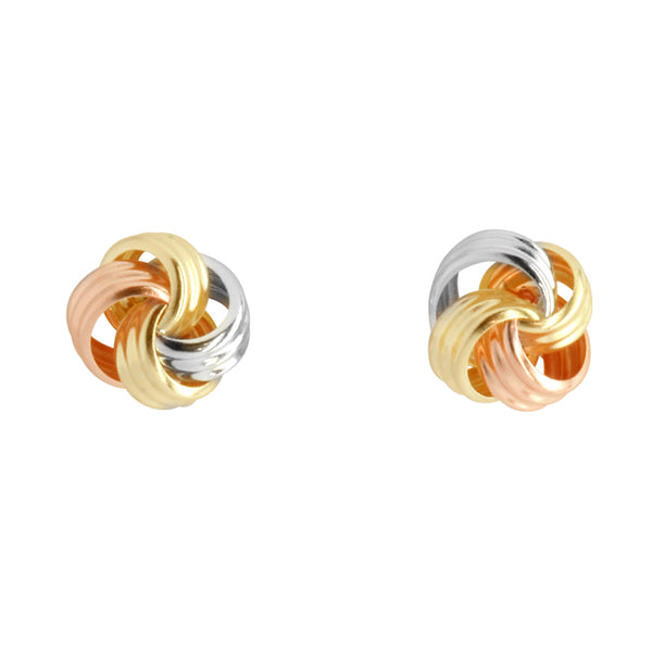 9k Trigold Knot Earrings