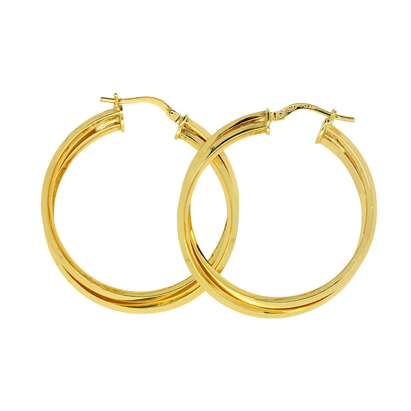9K Yellow Gold and Sterling Silver Bonded Earrings