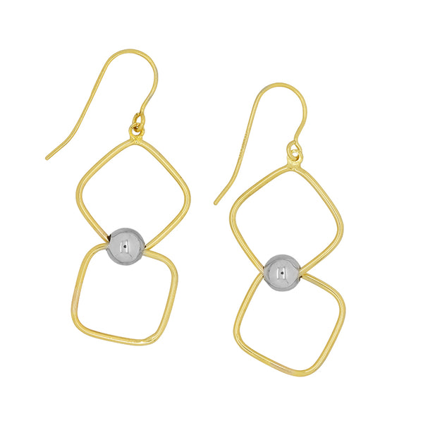 9k Yellow Gold and Silver Bonded earrings