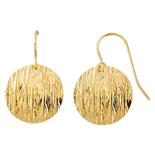 9ct Yellow & Silver Bonded Bark Textured Disc Drop Earrings
