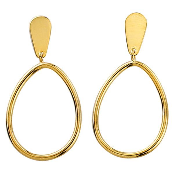 9k Yellow Gold and Silver Bonded Drop Earrings