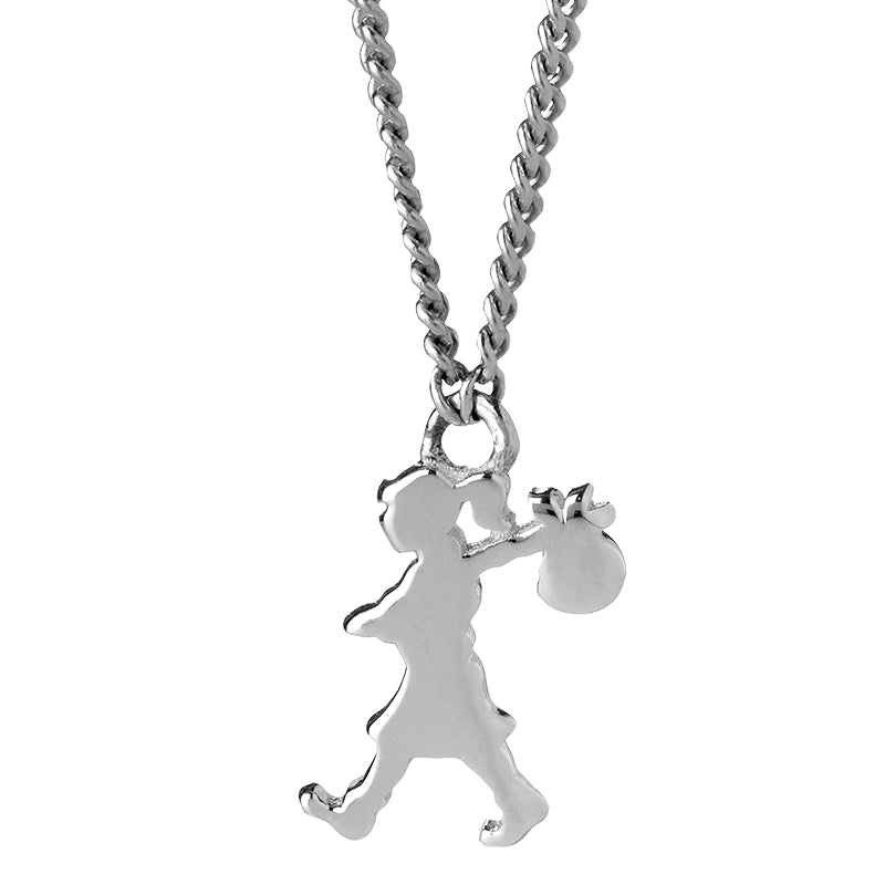 KAREN WALKER STG SILVER MINI RUNAWAY GIRL NECKLACE 45CM