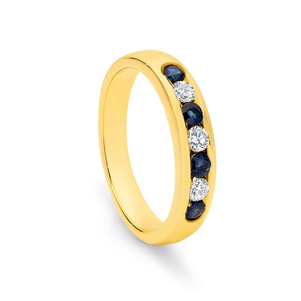 9k Yellow Gold channel set 4x sapphire 3x diamond ring / band TDW 0.21ct GH SI2-P1