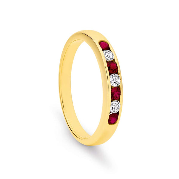 9k Yellow Gold Channel Set 4x Ruby 3X Diamond Ring / Band TDW 0.15ct GH SI2-P1