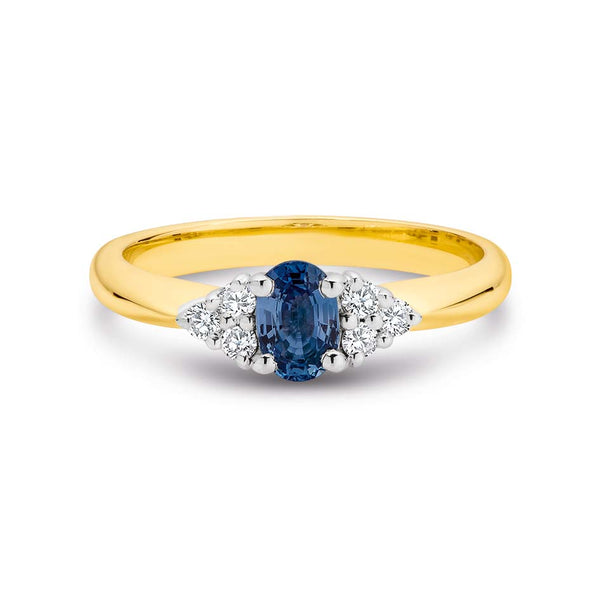 9K Yellow Gold Oval Ceylon Sapphire & 6 Diamond Dress Ring TDW 0.15ct GH SI2-I1