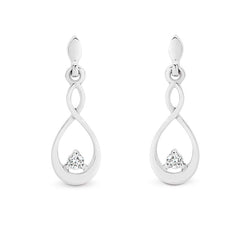 9K White Gold  Drop Diamond Earrings tdw 0.06ct GH SI2-I1