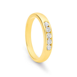 9K Yellow Gold Channel Set 5x Diamond Ring / Band TDW0.30ct GH SI2-I1