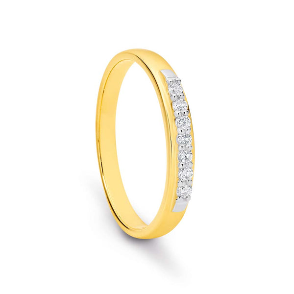 9K Yellow GOld Anniversary Diamond Ring / Band TDW 0.14ct GH SI2-I1