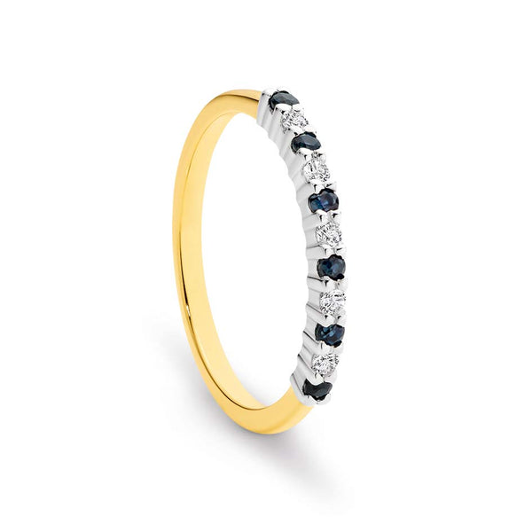 9K Yellow Gold / White Gold 2-tone 6x Sapphire 1.75mm & 6 Diamond Ring
