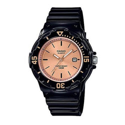 CASIO KIDS WATCH ANALOGUE DISPLAY ROSE GOLD FACE, BLACK GREAT FOR KIDS