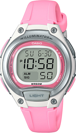 CASIO LADIES DIG WATCH 10YR BATTERY, LED BACKLIGHT 50M WR PINK