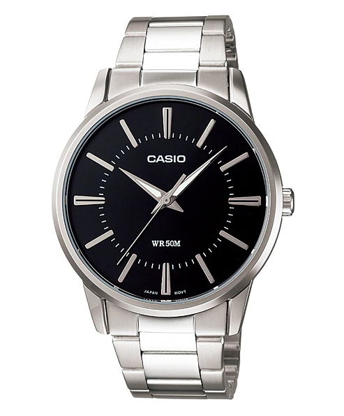 CASIO MENS WATCH CLASSIC ANALOGUE 50M WATER RESIST STAINLESS STEEL BAND