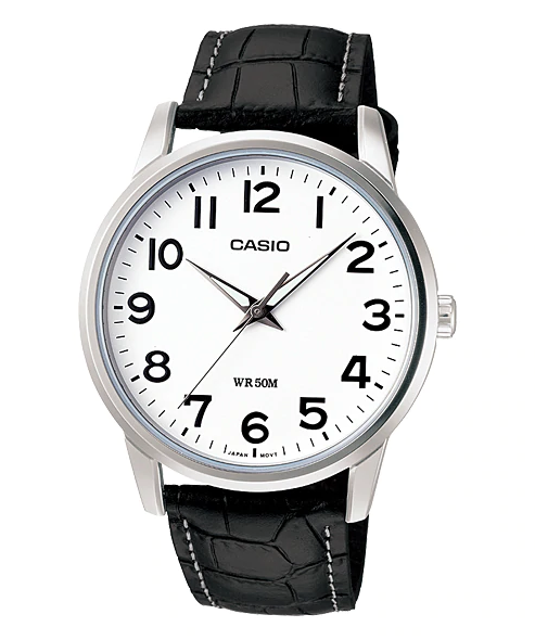 CASIO WATCH MENS ANALOG CLASSIC 50M WR, NUMBER DIAL, LEATHER STRAP BLK &  WHT