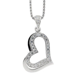 ELLANI STG SILVER CZ Set Double Heart Pendant on Stg Chain
