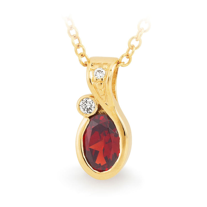 9K YELLOW GOLD PENDANT 1* GARNET OVAL BEZ DIA 2= 0275CT SI3 JKL 1 BEZ SET 1 BEAD SET IN BAIL